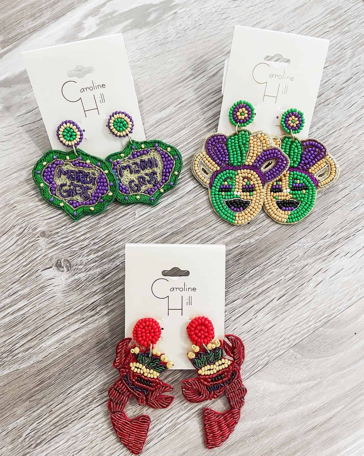 Mardi Gras Earrings from love, Ivy boutique