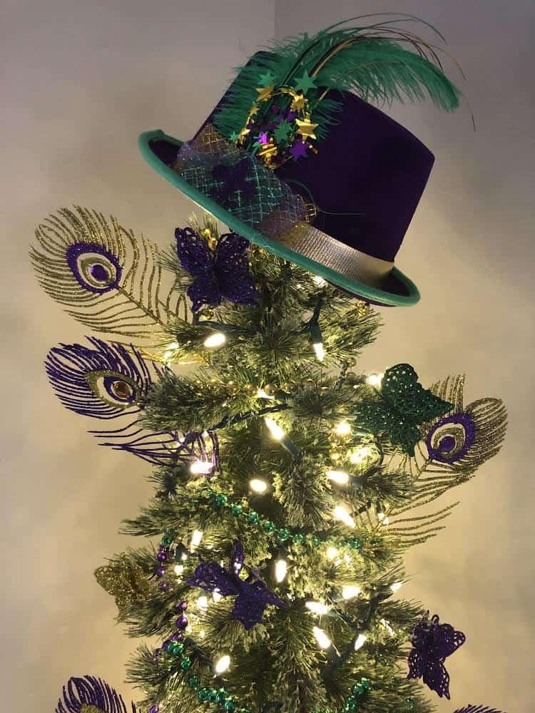 Hat topper on top of Mardi Gras tree