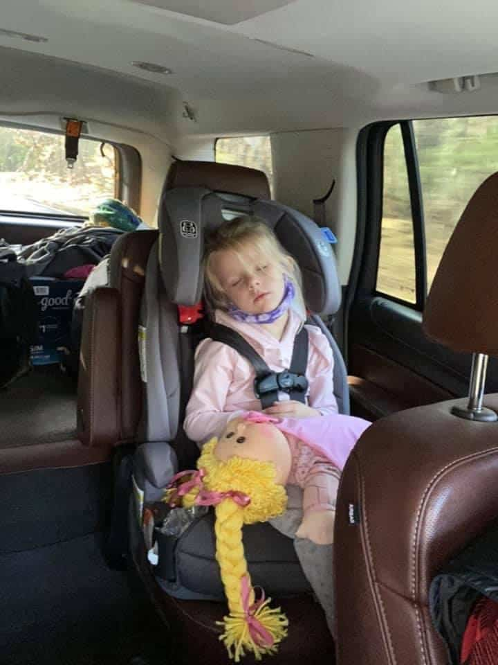 Sleeping child after Camping trip