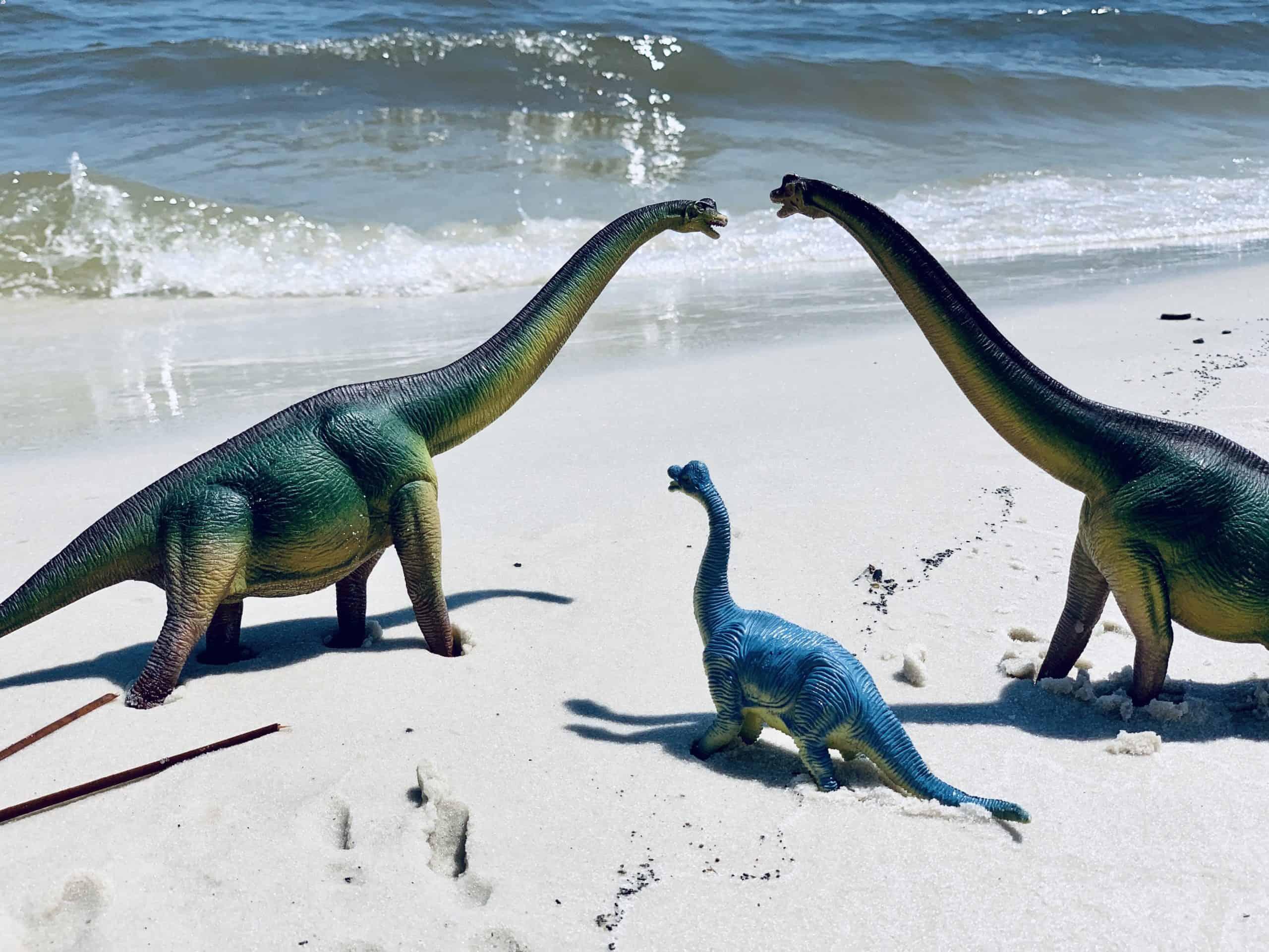 Dinosaur toys on the beach