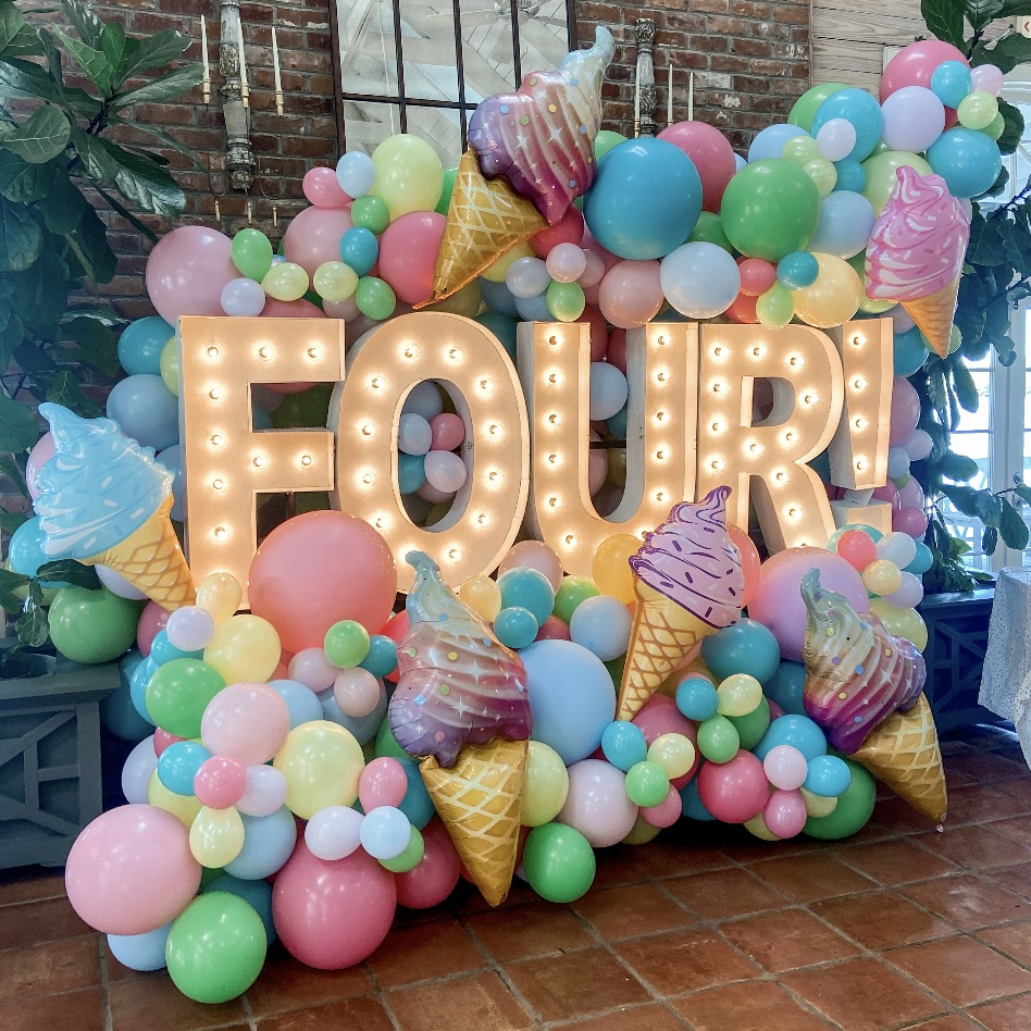 Balloon swag for birthday party