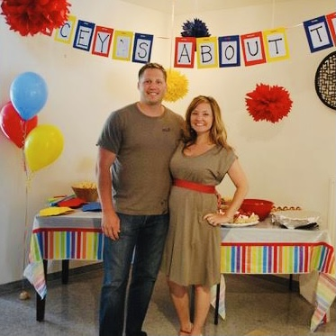 Mom and dad at baby shower