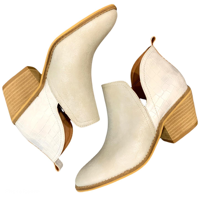 White metallic booties