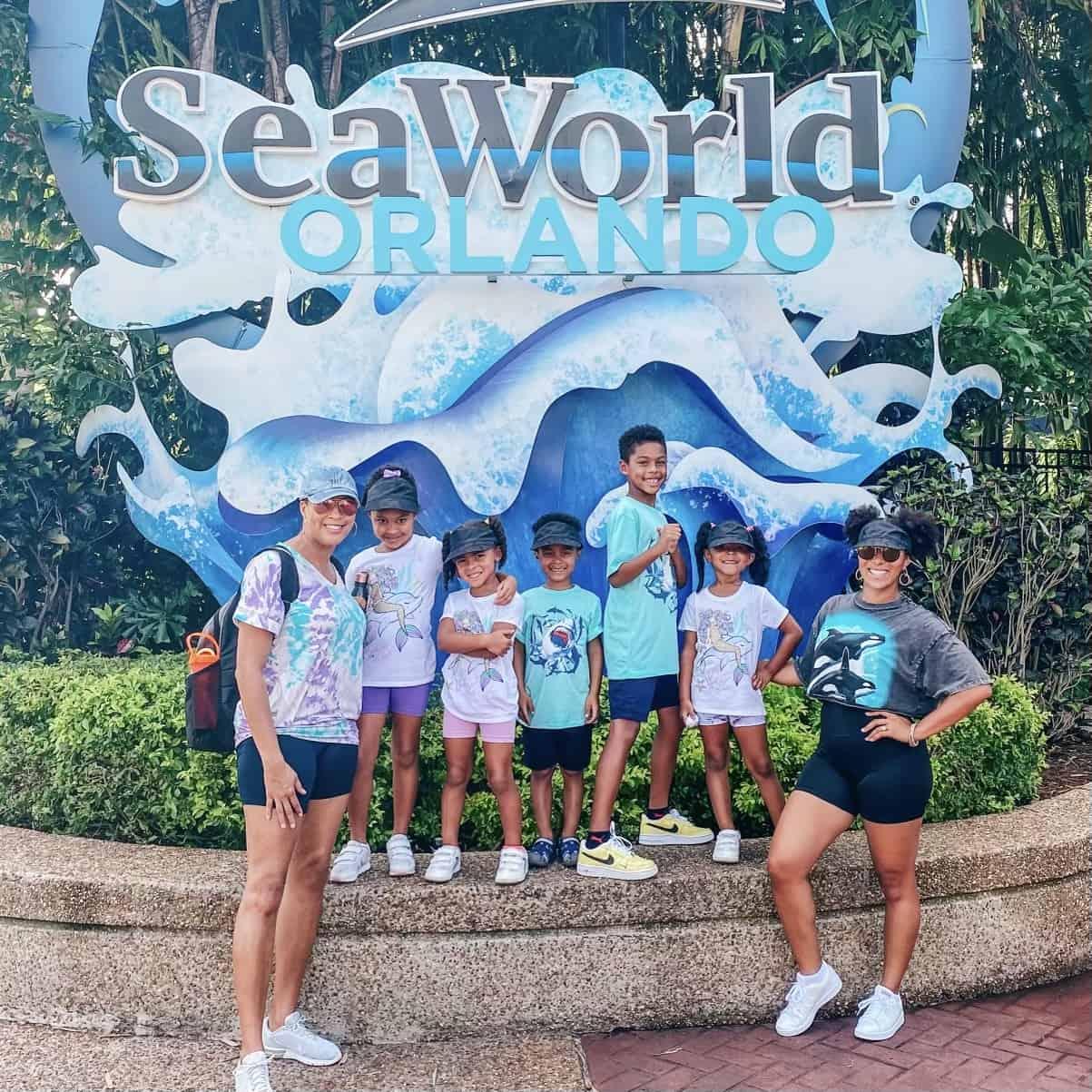 Family at SeaWorld moms love to visit Orlando