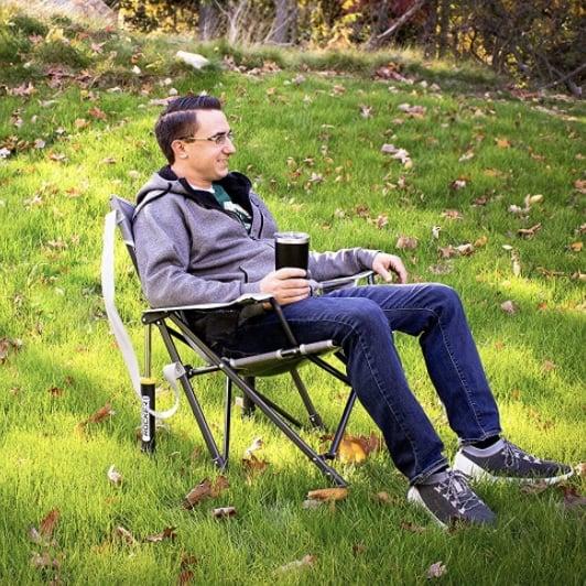 Man in Rocking Folding chair